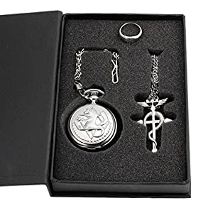 1 X Cosplay Full Metal Alchemist Edward Elric Pocket Watch Cross Snake Necklace and Ring