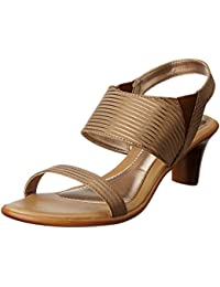 Bata Women's Gold Stripe Sandal Tan Light Brown Fashion Sandals - 3 UK/India (36 EU)(7613972)
