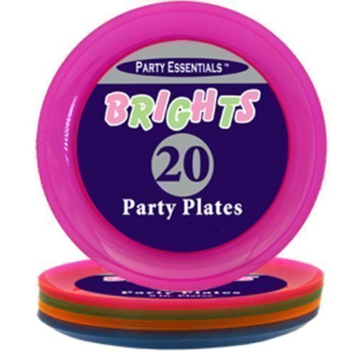 Neon Brights Plastic Party Plates - Twenty pack
