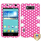 MYBAT Hybrid Phone Protector Cover for LG Splendor/US730/Venice/Optimus Showtime/L86C - Carrying Case - Retail Packaging - Dots (Pink/white)/White