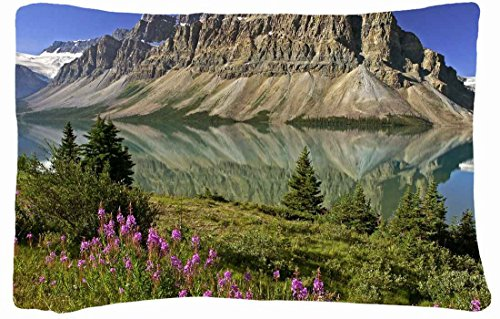 Queen Size Microfiber Peach Decorative Pillowcases -Nature Mountains Flowerss Lake Images Canada Reflection Mirror front-921927