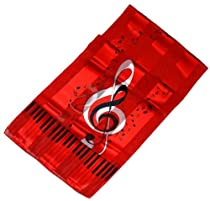 Red & Black Piano, Notes & G Clef Satin Stripe Oblong Scarf/Sash/Belt