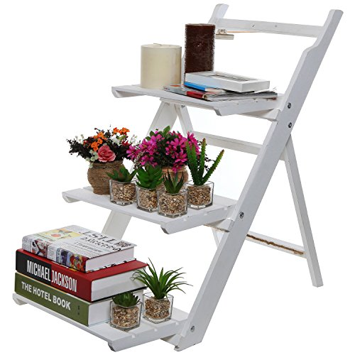 3 Tier Fold Out Rustic Garden White-Washed Finish Wood Decor