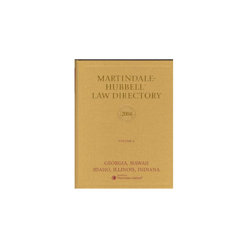 Martindale Hubbell Law Directory 2004 Volume 6 on PopScreen