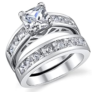1 Carat Radiant CZ Sterling Silver 925 Wedding Engagement Ring Band Set Size 7