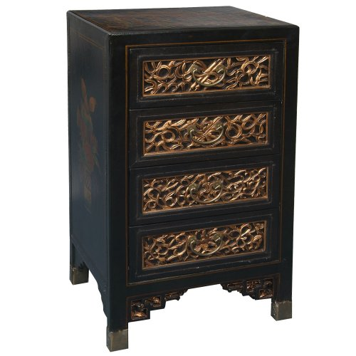 Cheap EXP Handmade Oriental furniture-31″ Antique Style Black Leather End Table / Cabinet With Bas-Relief (B0027WIEUM)