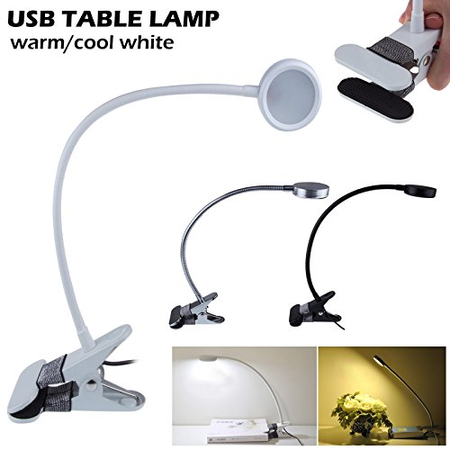 Lemonbest® Natural Light Dimmable Usb Desk Clamp Lamp 5050 Smd Led Desk Lamp Kids Student Usb Study Lamp, Two Modes Brightness And Two Modes Colors White