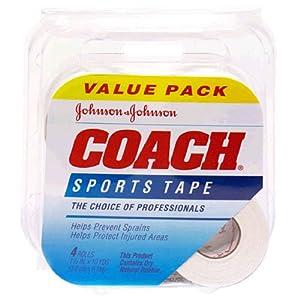 Johnson & Johnson Coach Sports Tape (1.5-Inch x 10-Yard Rolls), 4-Count Rolls... by Johnson & Johnson