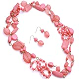 Long 60 Inch Coral Beaded Necklace Set