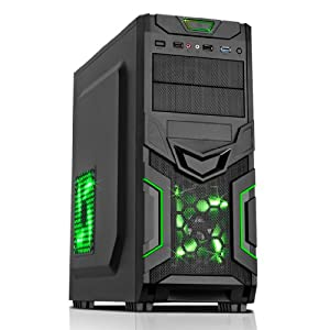 AMD 145 Best Value HDMI PC 2.80 GHz X1 8GB DDR3 RAM 500GB HARDDRIVE Computer - Mesh Green LED Gaming Case with HD Audio, Case Fan Ideal For Home, Office, Work, Family, Back To School, University, Gaming PC, Desktop PC, Multimedia Player + Supports Full HD 1080p & Allows Dual Independent Screens, With SuperFast USB3 Ports, WiFi Ready Enabled, Wireless Broadband Internet, Ready For You To Install Windows (No Operating System)