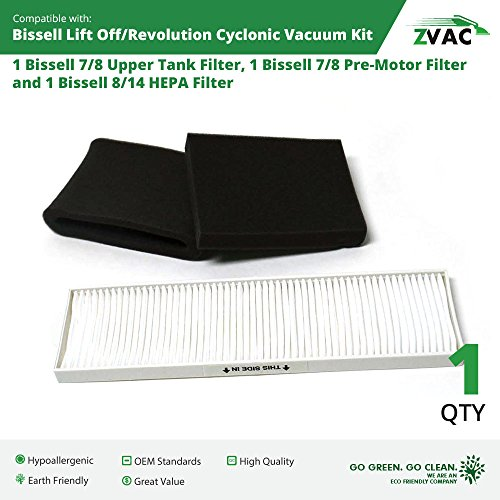 Lowest Prices! Bissell Lift-Off/ Lift-Off Revolution Cyclonic Vacuum HEPA & Foam Filter Kit by ZVac