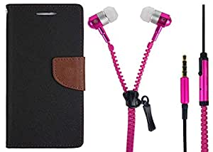 Novo Style Book Style Folio Wallet Case Apple iPhone 6S Black + Zipper Earphones/Hands free With Mic 3.5mm jack