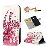 YOKIRIN Pink Flower White Style Flip Case Cover Wallet Folio Protective Case for HTC One Mini 2 Leather Case Cover Phone Case Back Cover Case Shell in book style with stand function for credit cards + 1x Dust Plug Dust Plug