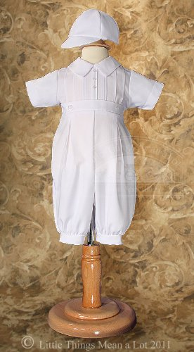 Little Things Mean a Lot Boy's Christening Outfit with Pintucks and Baseball Cap (12 month) at Sears.com