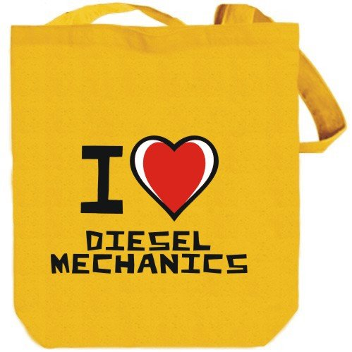 I love Diesel Mechanics Yellow Canvas Tote Bag Unisex