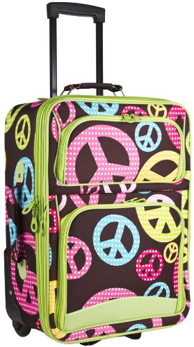 Green Multicolored Peace Sign Carry-on Rolling