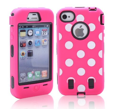 Images for Meaci® Iphone 4 4s Case Hard Soft Wave Point/ Spot Combo Hybrid Defender Impact Body Armorbox Hard Case (Viii)