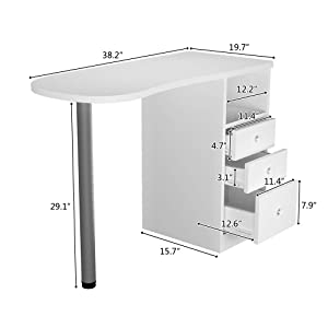 Beauty Manicure Nail Table Station, Movable Nail Salon Desk Equipment With 3 Drawers(white A) (Color: white A)
