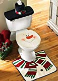 D-FantiX® New Snowman Santa Toilet Seat Cover and Rug Set for Bathroom Christmas Decorations Set of 3