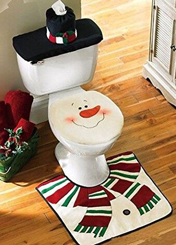Pleasant D Fantix New Snowman Santa Toilet Seat Cover And Rug Set Customarchery Wood Chair Design Ideas Customarcherynet