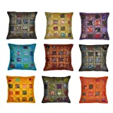 Rajasthali Indian Vintage Embroidery & Patchwork Cotton Cushion Cover, 41 X 41 Cm, 10 Pcs Lot