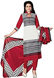 SDM Women's Crepe Printed Dress Material Unstitched (4462, red, Free Size)