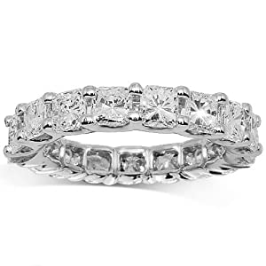 14K White Gold Womens Diamond Eternity Band 5.00 Ctw - 12