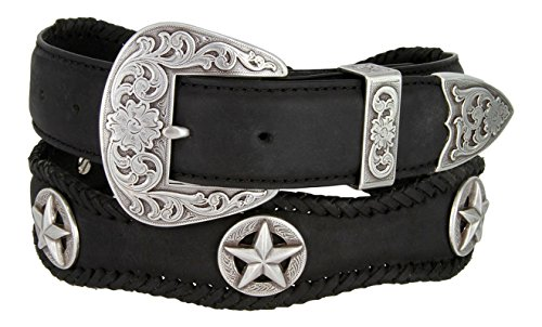 Mens Austin Texas Stars Conchos Western Leather Scalloped Belt(Black,38)