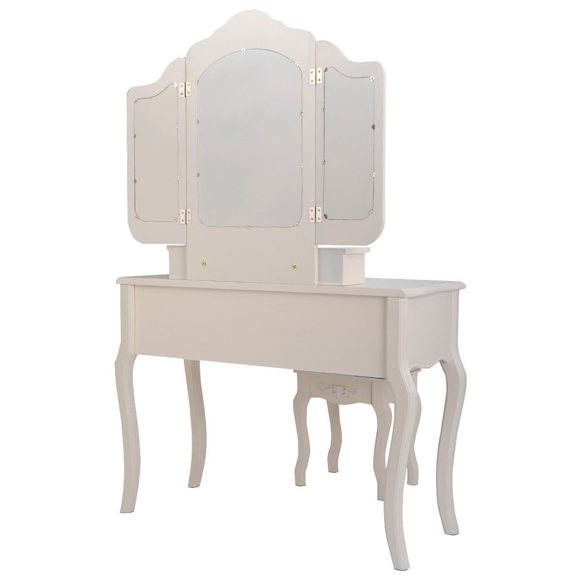 Giantex Tri Folding Vintage White Vanity Makeup Dressing Table Set 5 Drawers &stool 2