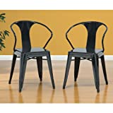 Set of 4 Black Metal Chairs in Glossy Powder Coated Finish Steel Stackable Di...