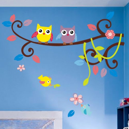 Couple Owl Singing on Branches with birds owl wall decal nursery wall decal