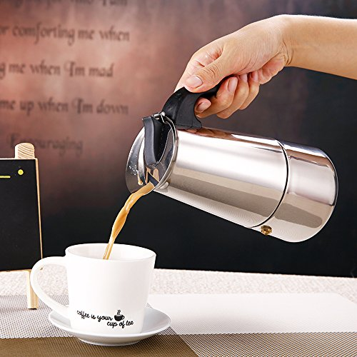 Coffee Maker - Stovetop Espresso Moka Coffee Maker Pot Latte Percolator,Stainless Steel,4 Cups/200ML