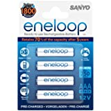 SANYO eneloop HR-4UTGB-4BP AAA Ready-To-Use Ni-MH Batteries 750 mAh Pack of 4