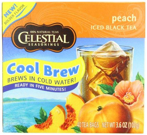 Celestial Seasonings Ice Cool Brew Iced Tea, Peach, 40-Count Tea Bags (Pack of 6)
