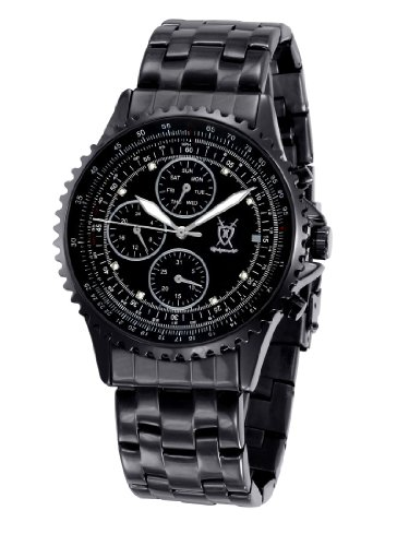Mens-Black-Bracelet-Watch-Large-Dial-Diamond-Accent-Multifunction-Day-Date-Konigswerk-SQ201415G