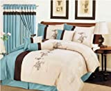 7 Pieces Light Blue, Beige, and Brown Floral Comforter Set Bed-in-a-bag Que ....