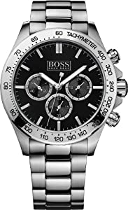 Hugo Boss Men's 1512965 Silver Stainless-Steel Quartz Watch with Black Dial