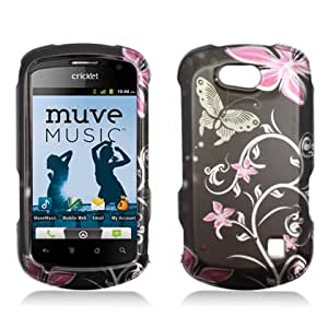 Aimo Wireless ZTEX501PCIMT071 Hard Snap-On Image Case for ZTE Groove X501 - Retail Packaging - Pink/Flowers and Butterfly