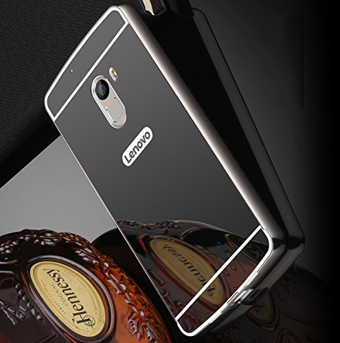 newest b75ca c12db AE (TM) Luxury Metal Bumper + Acrylic Mirror Back Cover Case For Lenovo  A7010 / Lenovo K4 Note - GREY BLACK