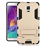#5: Galaxy Note 4 Cover, Rugged Armor Case With Kickstand for Samsung Galaxy Note 4 N910 - Gold