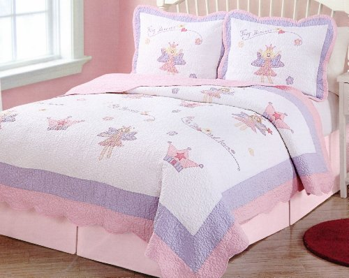Fairy Princess Garden Full / Queen Quilt With 2 Shams