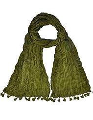 Womens Cottage Beige Solid (Plain) Pure Cotton Dupatta With Designer Lace