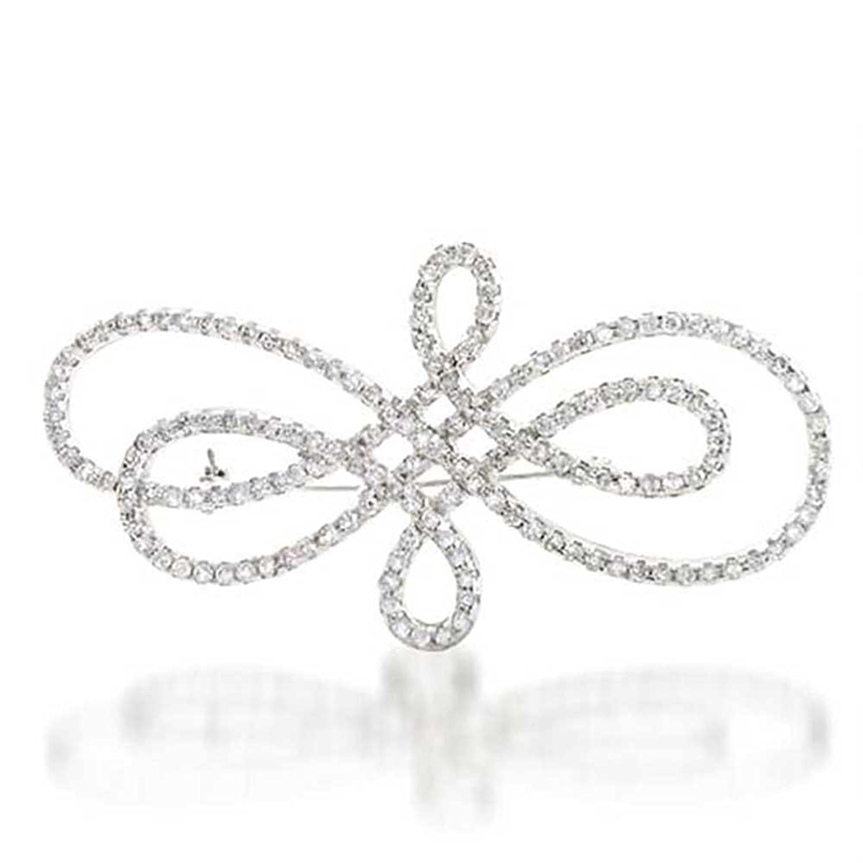 Bling Jewelry Klassik Sterling-Silber CZ Wirbel Pin Brautschmuck Brosche online kaufen