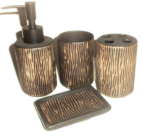4 piece bathroom accessory set tree look toothbrush for Looking for bathroom accessories