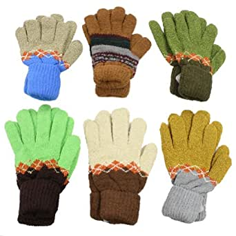 6 Pairs Assorted Designs/Colors Unisex Double-Layered Gloves with Extra Long Cuff, #2001_6Pairs