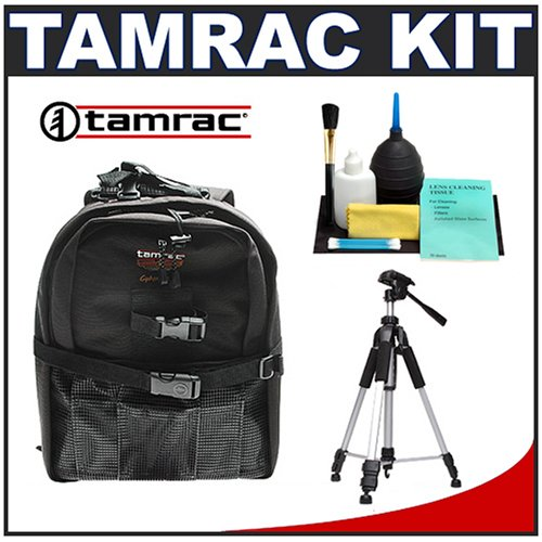 Tamrac 5256 CyberPack 6 Photo/Computer Digital SLR Camera Backpack (Black) + Tripod + Accessory Kit for Canon Rebel T3, T3i, T1i, T2i, EOS 60D, 5D, 7D, Nikon D3000, D3100, D5000, D5100, D7000, D300s, Olympus Evolt E-5, E-30, E-620 & Sony Alpha A560, A580, A33, A35, A55