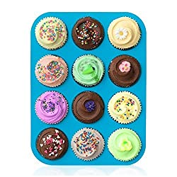 Bessmate Silicone Muffin Pan -12 Cups Blue Mold & Baking Tray- Reusable, Non-Stick Bakeware For Cupcakes and Cakes ,Dishwasher /Microwave Safe