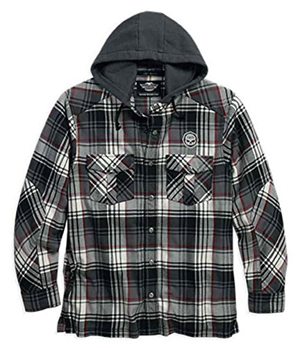 Harley-Davidson Men's Hood Plaid Flannel Shirt Jacket (4XL)