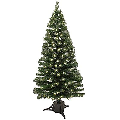 5 ft Pre-Lit Multi-Colour Fibre Optic Christmas Tree with 168 Warm White LED Berries