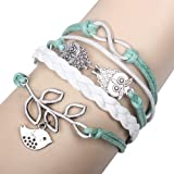 BlueTop(TM) Retro Braided Owl Infinity Olive Branch Wrap Bracelet Bangle Leather Rope